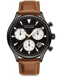 Movado - Heritage Series Calendoplan Grey Ion-plated Stainless Steel & Leather Strap Watch - Lyst