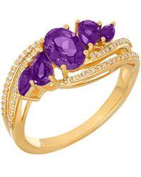Lord & Taylor - Andin Amethyst, Diamond, 14k Yellow Gold Ring - Lyst