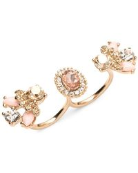 Marchesa - Goldtone Double Finger Ring - Lyst