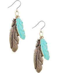 Lucky Brand - Patina Feather Drop Earrings - Lyst