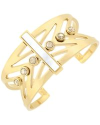 Cole Haan - 1/25 Park Avenue Fashion Goldtone And Mother-of-pearl Cutout Cuff - Lyst