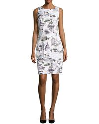 Chetta B - Rome-print Sleeveless Sheath Dress - Lyst