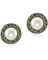 Lord & Taylor - Marcasite & Round Freshwater Pearl Halo Sterling Silver Stud Earrings - Lyst