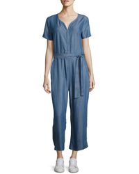 Lord & Taylor | Chambray Belted Jumpsuit | Lyst