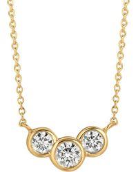 Morris & David - Diamond And 14k Yellow Gold Pendant Necklace - Lyst