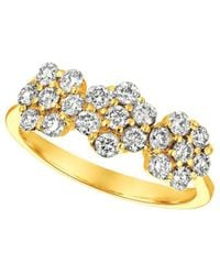 Morris & David - Diamond And 14k Yellow Gold Floral Ring - Lyst