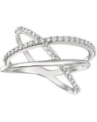 Morris & David   Diamond And 14k White Gold Asymmetrical Crossover Ring   Lyst