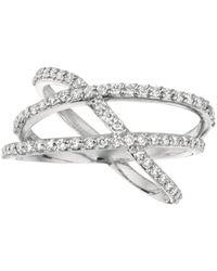 Morris & David - Diamond And 14k White Gold Triple Band Asymmetrical Crossover Ring - Lyst
