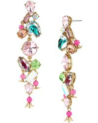 Betsey Johnson - Flat Out Floral Mixed Stone Linear Earrings - Lyst