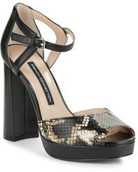 French Connection - Dita Textured Platform Court Shoes - Lyst