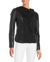 Vince Camuto - Draped Suede And Leather Moto Jacket - Lyst