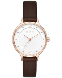 Skagen - Polished Stainless Steel Leather-strap Watch - Lyst