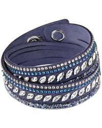 Swarovski - Slake Pulse Blue Crystal-accented Leather Wrap Bracelet - Lyst