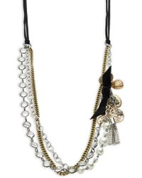 R.j. Graziano   Faux Pearl-accented Tiered Chain Necklace   Lyst