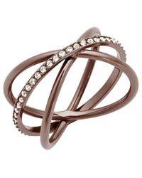Michael Kors - Brilliance Crisscross Pavé Ring/sabletone - Lyst