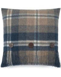 UGG - Plaid Button And Fringe Wool Pillow - Lyst