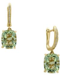 Effy - Diamonds, Green Amethyst And 14k Yellow Gold Drop Earrings - Lyst