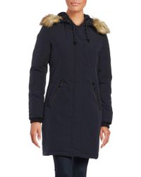 Vince Camuto - Faux Fur-trimmed Hooded Zip-front Parka Jacket - Lyst