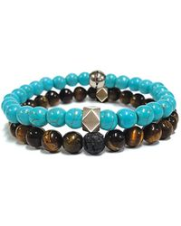 Steve Madden - Stainless Steel Duo Turquoise And Tigers Eye Beaded Bracelets - Lyst