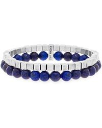 Steve Madden - Silver-tone Stainless Steel Oxidized Cube And Lapis Bead Double Layered Stretch Bracelet - Lyst