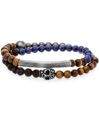 Steve Madden - Stainless Steel And Beaded Bracelet - Lyst