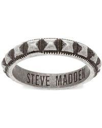 Steve Madden - Stainless Steel Studded Textured Band Ring - Lyst