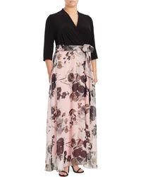 Chetta B - Plus Floral Contrast Maxi Dress - Lyst