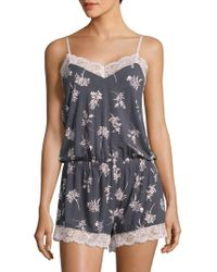 Pj Salvage - Lace Trimmed Floral Sleep Romper - Lyst