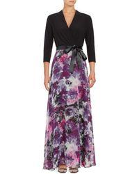 Chetta B - Floral Surplice Gown - Lyst