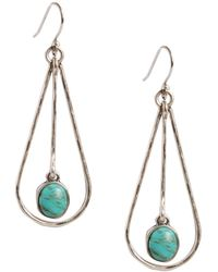 Lucky Brand - Silvertone Metal And Turquoise Stone Drop Earrings - Lyst