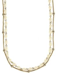 Anne Klein - Gold-tone Imitation Pearl And Metallic Beaded Long Length Layer Necklace - Lyst