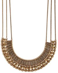 Lucky Brand - Goldtone Textured Bead Collar Necklace - Lyst