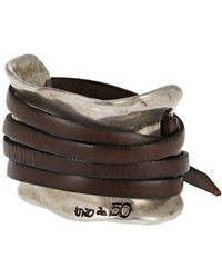 Uno De 50 - Leather Strap Accented Cuff Bracelet - Lyst