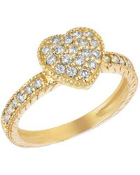 Morris & David - 14kt Yellow Gold And Diamond Heart Ring - Lyst