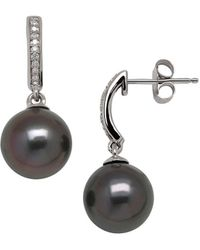 Lord & Taylor - 9mm Tahitian Pearl, Diamond And 14k White Gold Drop Earrings - Lyst