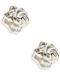 Lord & Taylor - Sterling Silver Rose Stud Earrings - Lyst