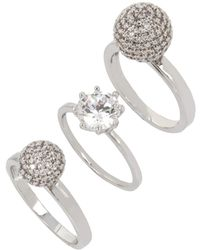 Betsey Johnson - Pave Ball & Stone Ring/set Of 3 - Lyst
