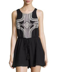 Vitamin A - Geo-embroidered Sleeveless Romper - Lyst