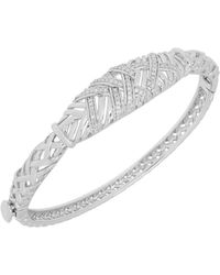 Lord & Taylor - Diamond And Sterling Silver Round Bangle - Lyst