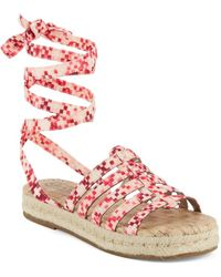 Circus by Sam Edelman - Ariel Printed Lace-up Espadrille Sandals - Lyst