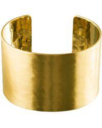 Pilgrim - Wide Hammered Gold Plated Cuff Bracelet - Lyst