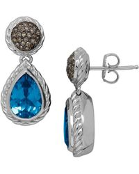 Lord & Taylor - Blue Topaz, Brown Diamond And Sterling Silver Drop Earrings - Lyst