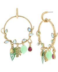 Betsey Johnson - Tropical Punch Vine And Leaves Gypsy Hoop Earrings - Lyst