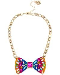 Betsey Johnson - Rainbow Connection Rainbow Bow Necklace - Lyst