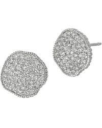 Morris & David - Diamond And 14k White Gold Button Earrings, 0.75 Tcw - Lyst