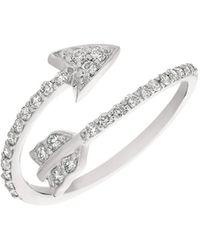 Morris & David - Diamond And 14k White Gold Arrow Ring - Lyst