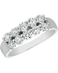 Morris & David - Diamond And 14k White Gold Two-row Ring, 1 Tcw - Lyst