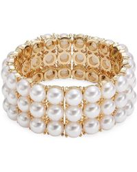Lord & Taylor - Faux Pearl Stretch Bracelet - Lyst