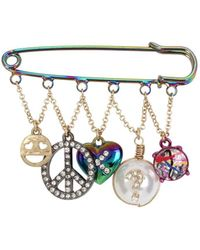 Betsey Johnson - East Harlem Shuffle Oil Slick Safety Pin Brooch - Lyst
