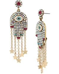 Betsey Johnson - Mystic Baroque Queens Multi-stone & Gold Hamsa Drop Earrings - Lyst